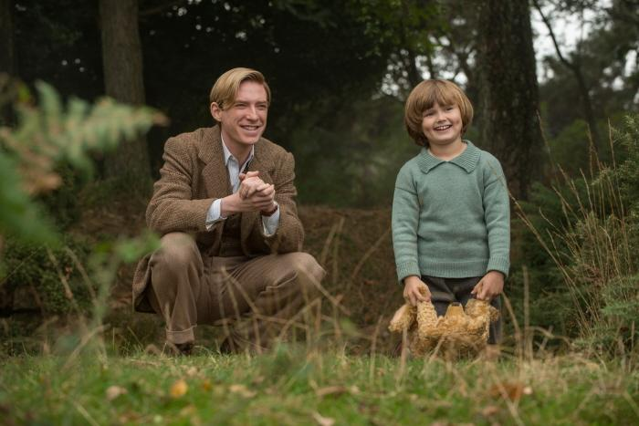 Domhnall Gleeson and Will Tilston in the film Goodbye Christopher Robin.