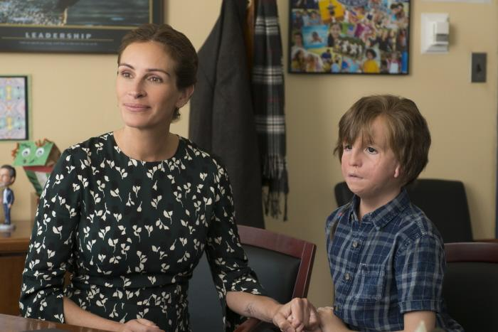 "Julia Roberts as ""Isabel"" and Jacob Tremblay as ""Auggie"" in WONDER. Photo by Dale Robinette."